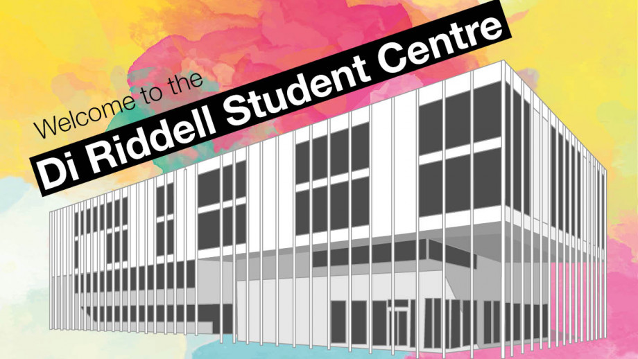 Line drawing of Di Riddell Student Centre